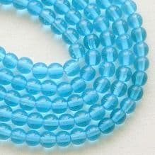 4mm Round Czech Glass Beads Aquamarine - 100