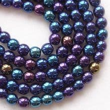 4mm Round Czech Glass Beads Blue Iris - 100