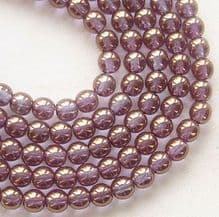 4mm Round Czech Glass Beads Bronze Illusion - 100