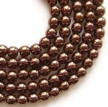 4mm Round Czech Glass Beads Dark Bronze - 100
