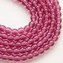 4mm Round Czech Glass Beads Fuschia - 100