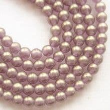 4mm Round Czech Glass Beads Gold Suede Amethyst - 100