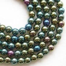 4mm Round Czech Glass Beads Green Iris - 100