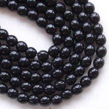 4mm Round Czech Glass Beads Jet - 100
