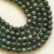 4mm Round Czech Glass Beads Jet Picasso - 100