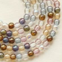 4mm Round Czech Glass Beads Lustre Mix - 100