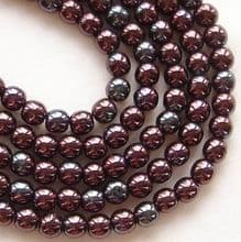 4mm Round Czech Glass Beads Metallic Amethyst - 100