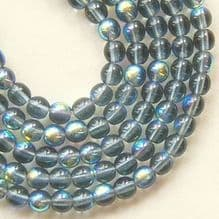 4mm Round Czech Glass Beads  Montana Blue AB - 100