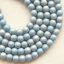 4mm Round Czech Glass Beads Neon Blue Grey - 100
