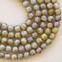 4mm Round Czech Glass Beads Opaque Green Lustre - 100