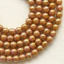 4mm Round Czech Glass Beads Opaque Rose Gold Topaz Lustre - 100