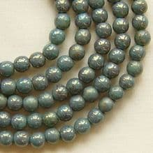 4mm Round Czech Glass Beads Pink Topaz Turquoise Lustre - 100