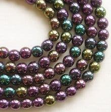 4mm Round Czech Glass Beads Purple Iris - 100