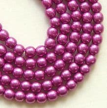 4mm Round Czech Glass Beads Saturated Metallic Pink Yarrow - 100