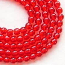 4mm Round Czech Glass Beads Siam Ruby - 100