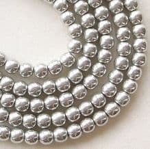 4mm Round Czech Glass Beads Silver - 100