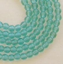 4mm Round Czech Glass Beads Teal - 100