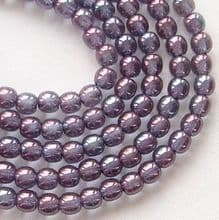 4mm Round Czech Glass Beads Transparent Amethyst Lustre - 100