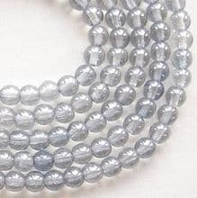 4mm Round Czech Glass Beads Transparent Blue Lustre - 100