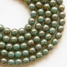 4mm Round Czech Glass Beads Turquoise Bronze Picasso - 100