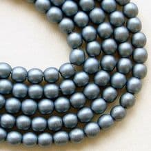 4mm Round Czech Glass Blue Satin - 100