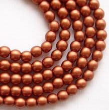 4mm Round Czech Glass Copper Satin - 100