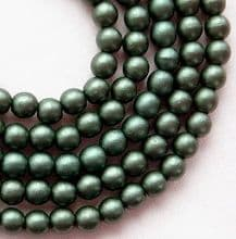 4mm Round Czech Glass Dark Green Satin - 100