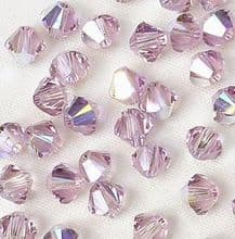 4mm Swarovski 5328 Xilion Light Amethyst AB - 10