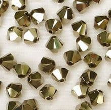 4mm Swarovski 5328 Xilion Metallic Light Gold x2 - 50