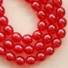 6mm Round Czech Glass Beads Transparent Pearl Fruit Punch - 50