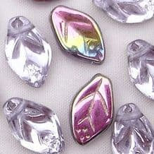 8 x 12mm Czech Glass Leaf Beads Alexandrite Vitrail - 25