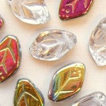 8 x 12mm Czech Glass Leaf Beads Crystal Vitrail - 25