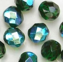 8mm Fire Polished Dark Emerald AB - 25