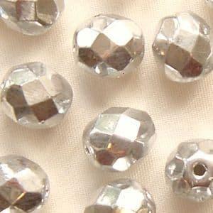 8mm Fire Polished Silver - 25