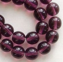8mm Round Czech Glass Beads Amethyst - 25