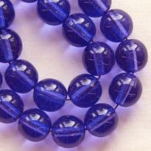 8mm Round Czech Glass Beads Bright Blue Lustre - 25