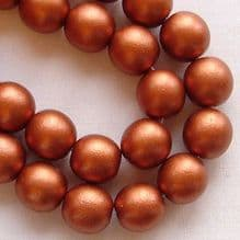 8mm Round Czech Glass Beads Copper Satin - 25