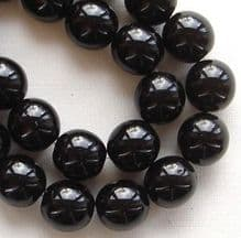 8mm Round Czech Glass Beads Jet - 25