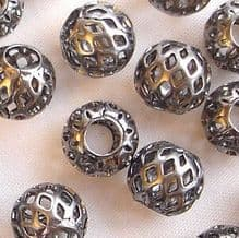 Black Plated Beads 8mm Filigree - 10