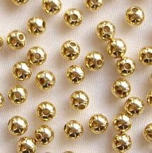 Gold Plated Beads 3mm Round - 100