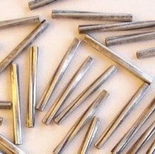 Matt Silver Plated Beads 13mm Twisted Tube - 20