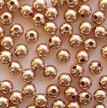 Rose Gold Plated Beads 3mm Round - 100