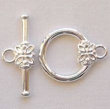 Silver Plated 14mm Flower Toggle Clasp - 1