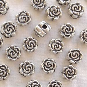 Silver Plated 5mm Rose Beads - 20