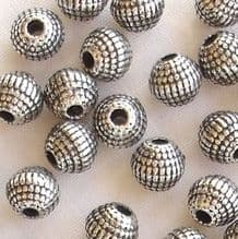 Silver Plated 6mm Dotty Round Beads - 20