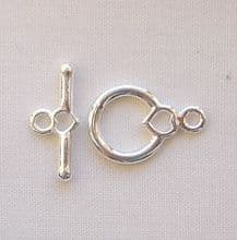 Silver Plated 9mm Heart Toggle Clasp - 1