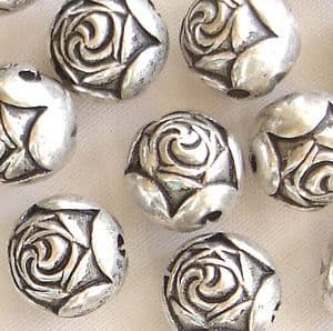 Silver Plated 9mm Rosebud Beads - 10