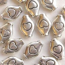"""Silver Plated """"Pewter"""" Beads 11 x 7mm Heart Tube - 20"""