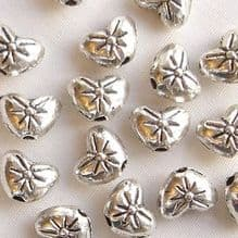 """Silver Plated """"Pewter"""" Beads 8 x 6mm Heart - 20"""