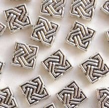 """Silver Plated """"Pewter"""" Beads 9 x 9mm Celtic Diamond - 20"""